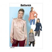 Butterick Ladies Easy Sewing Pattern 6487 Tops with Gather Detail Mock Neck