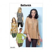 Butterick Ladies Easy Sewing Pattern 6489 Pullover Tops with Sleeve & Peplum Variations