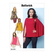 Butterick Ladies Easy Sewing Pattern 6490 Tops with Attached Cape & Sleeve Variations