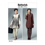 Butterick Ladies Easy Sewing Pattern 6491 Loose Shirts with Stand Collar & Shaped Hem