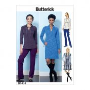 Butterick Ladies Easy Sewing Pattern 6494 Knit Raglan Sleeve Tops & Dress, Waistcoat & Pants