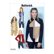 Butterick Ladies Easy Sewing Pattern 6496 Panelled Jackets & Waistcoats