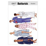 Butterick Unisex Easy Sewing Pattern 6837 Dressing Gown & Pyjamas