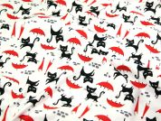 Timeless Treasures Cat with Umbrella Quilting Fabric