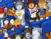 Timeless Treasures Sports Fan Cats Poplin Quilting Fabric