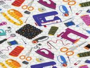 Timeless Treasures Sewing Tools Poplin Quilting Fabric