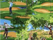 Timeless Treasures Golfing Course Scenic Poplin Quilting Fabric