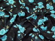 Rose Floral Print Chiffon Dress Fabric  Navy Blue & Turquoise