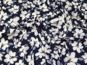 Floral Georgette Fabric  Navy Blue