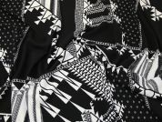 Abstract Crepe Fabric  Black & White