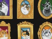 Timeless Treasures Cat Portraits Poplin Quilting Fabric