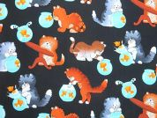 Timeless Treasures Cats With Fish Poplin Quilting Fabric