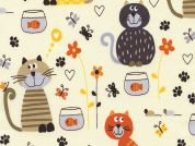 Timeless Treasures Cats & Fishbowls Poplin Quilting Fabric