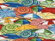 Timeless Treasures Beach Umbrellas Poplin Quilting Fabric