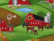 Timeless Treasures Barn Cows & Pigs Poplin Quilting Fabric
