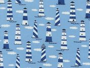 Timeless Treasures Lighthouse Cloud Waves Poplin Quilting Fabric