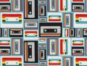 Timeless Treasures Cassette Tapes Poplin Quilting Fabric