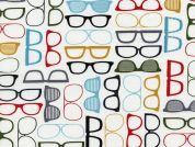 Timeless Treasures Geek Chic Glasses Poplin Quilting Fabric