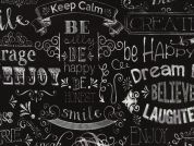 Timeless Treasures Chalkboard Words Poplin Quilting Fabric