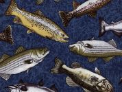 Timeless Treasures Freshwater Fish Poplin Quilting Fabric