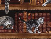 Timeless Treasures Cats in the Library Poplin Quilting Fabric