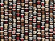 Timeless Treasures Mini Coffee Cups Poplin Quilting Fabric