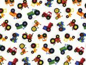 Timeless Treasures Mini Tractors Poplin Quilting Fabric