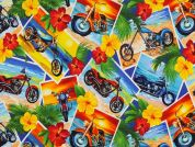 Timeless Treasures Tropical Motorcycle Postcards Poplin Quilting Fabric