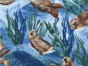 Timeless Treasures Sea Otters Poplin Quilting Fabric