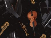 Timeless Treasures Tossed Musical Instruments Poplin Quilting Fabric