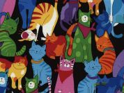 Timeless Treasures Happy Colourful Cats Poplin Quilting Fabric