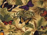 Timeless Treasures Butterflies on Leaves Poplin Quilting Fabric