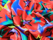 Multi Size Star Printed Satin Dress Fabric  Red