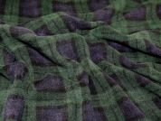 Plaid Check Print Anti Pill Polar Fleece Fabric  Navy & Green
