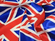 Polyester Satin Union Jack Flag Fabric  Red, Royal Blue & White