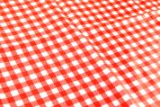 Gingham Print Plastic Coated PVC Table Protector Fabric  Red