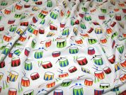 Drums Print Polycotton Dress Fabric  Multicoloured