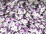 Busy Floral Print Stretch Cotton Dress Fabric  Purple