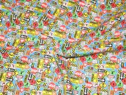 Road Traffic Signs Print Polycotton Dress Fabric  Multicoloured