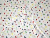 Nautical Motifs Print Polycotton Dress Fabric  Multicoloured
