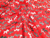 Scottie Dogs Print Polycotton Fabric  Red