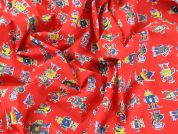 Robots Print Polycotton Dress Fabric  Red
