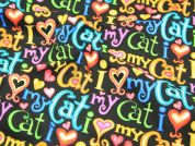 Timeless Treasures I Love My Cat Quilting Fabric