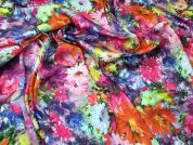 Floral Print Silky Satin Dress Fabric  Multicoloured