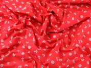 Nautical Motifs Print Polycotton Dress Fabric  Red