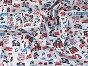 London Print Polycotton Dress Fabric  Red, White & Blue