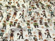 Cowboys Print Polycotton Dress Fabric  Multicoloured