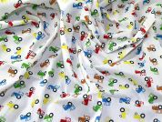 Tractor Print Polycotton Dress Fabric  Multicoloured