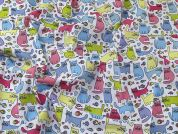 Cats Print Polycotton Dress Fabric  Multicoloured