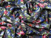 Floral Print Stretch Cotton Denim Chambray Dress Fabric  Blue Multi